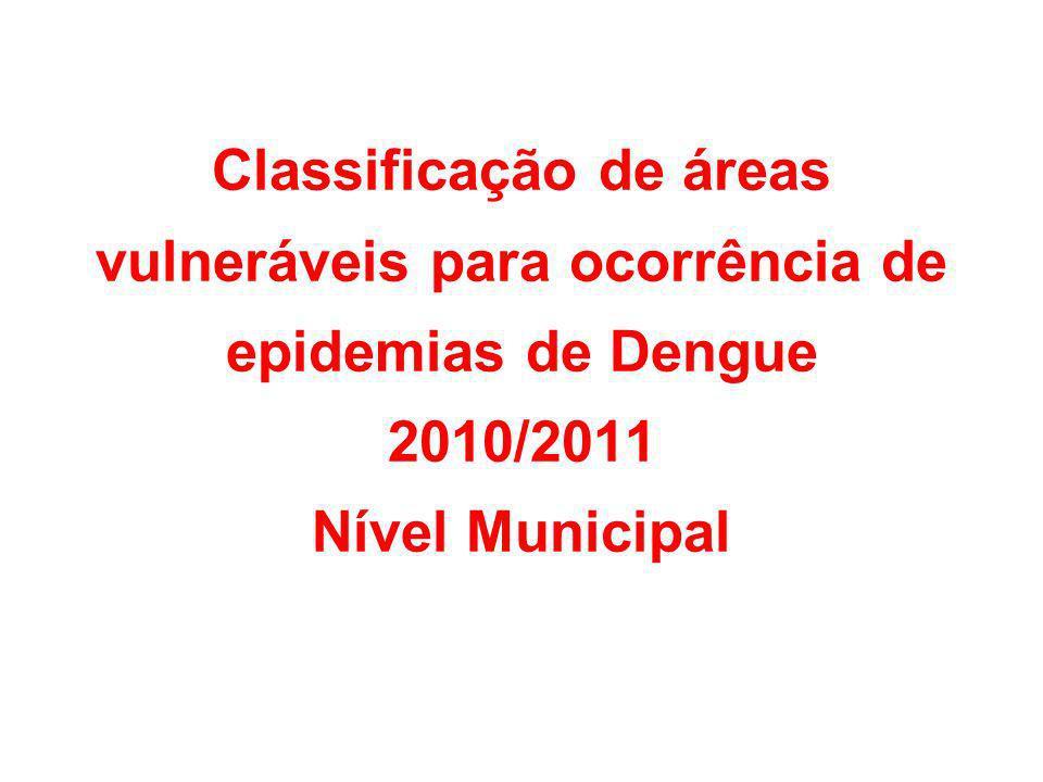 Resultados do Levantamento Rápido de Índices de Infestação pelo Aedes aegypti (LIRAa) no ano de 2010 O Índices de Infestação Predial foi utilizado para a identificação de áreas 1.Áreas com IIP abaixo de 1% - valor 0 2.Áreas com IIP entre 1% e 3% - valor 1 3.Áreas com IIP entre 3% e 5% - valor 2 4.Áreas com IIP acima de 5% - valor 4.