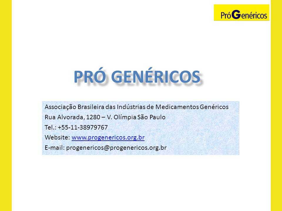 Associação Brasileira das Indústrias de Medicamentos Genéricos Rua Alvorada, 1280 – V. Olímpia São Paulo Tel.: +55-11-38979767 Website: www.progeneric