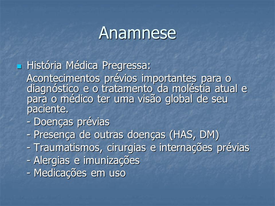 Anamnese História Médica Pregressa: História Médica Pregressa: Acontecimentos prévios importantes para o diagnóstico e o tratamento da moléstia atual