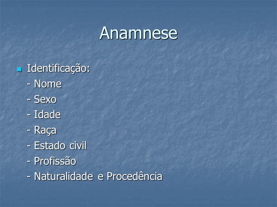 Anamnese Identificação: Identificação: - Nome - Nome - Sexo - Sexo - Idade - Idade - Raça - Raça - Estado civil - Estado civil - Profissão - Profissão