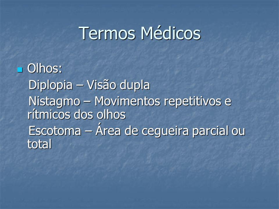 Termos Médicos Olhos: Olhos: Diplopia – Visão dupla Diplopia – Visão dupla Nistagmo – Movimentos repetitivos e rítmicos dos olhos Nistagmo – Movimento