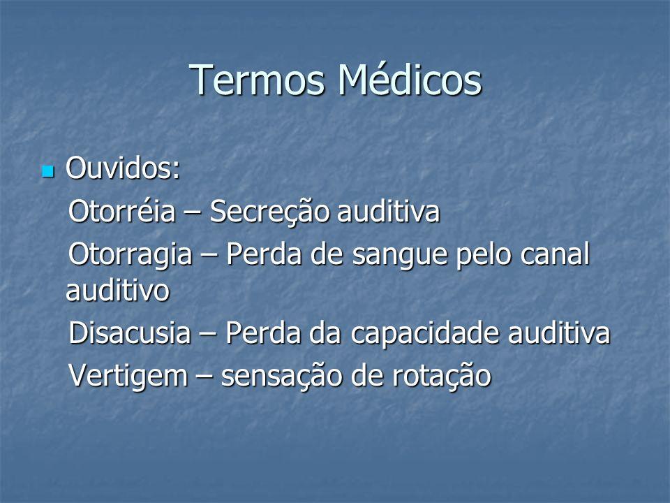 Termos Médicos Ouvidos: Ouvidos: Otorréia – Secreção auditiva Otorréia – Secreção auditiva Otorragia – Perda de sangue pelo canal auditivo Otorragia –
