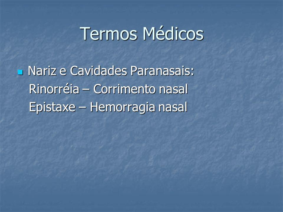 Termos Médicos Nariz e Cavidades Paranasais: Nariz e Cavidades Paranasais: Rinorréia – Corrimento nasal Rinorréia – Corrimento nasal Epistaxe – Hemorr