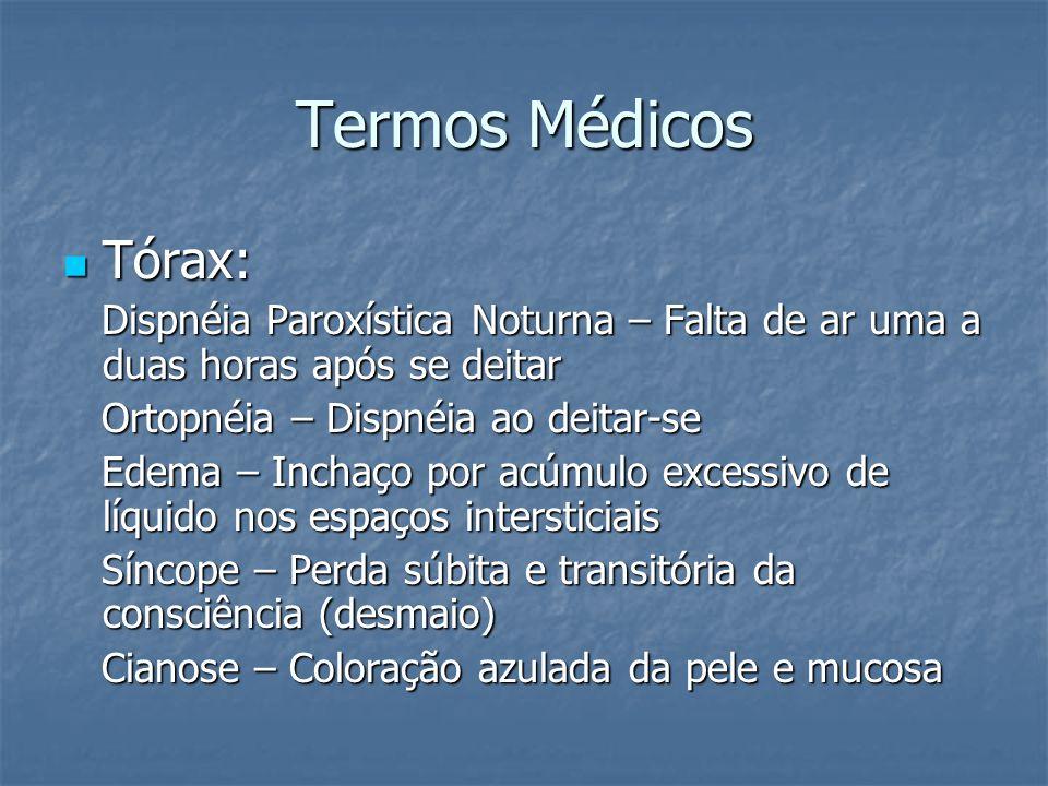 Termos Médicos Tórax: Tórax: Dispnéia Paroxística Noturna – Falta de ar uma a duas horas após se deitar Dispnéia Paroxística Noturna – Falta de ar uma
