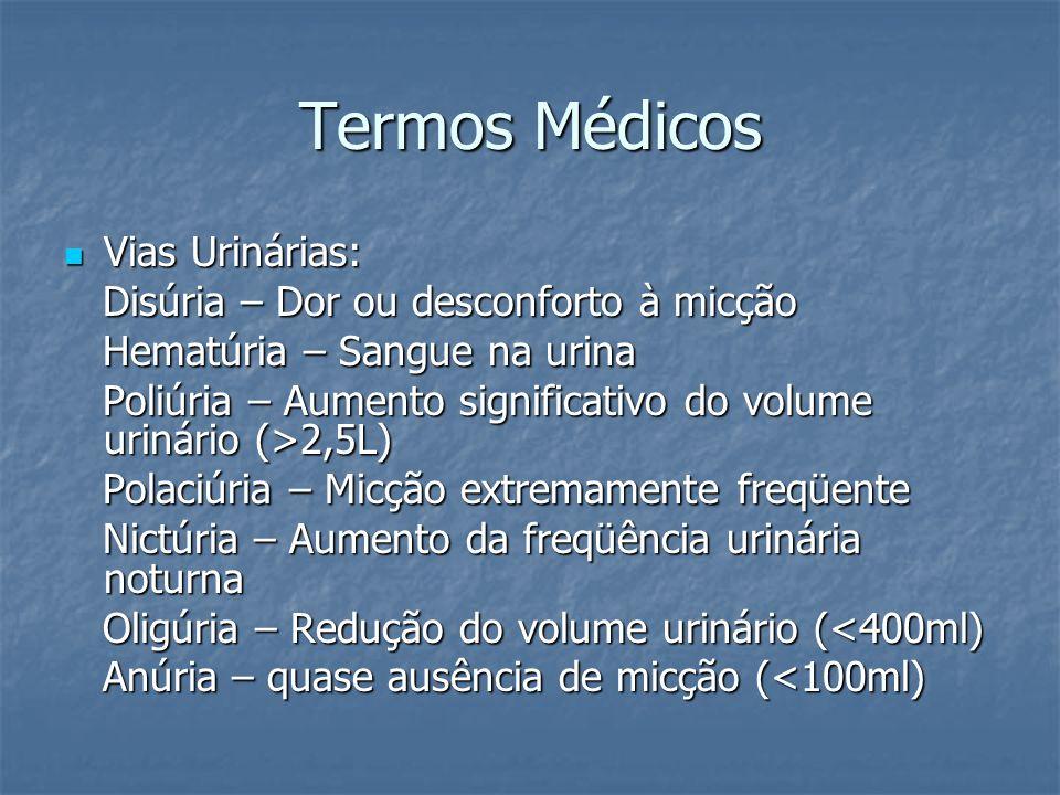 Termos Médicos Vias Urinárias: Vias Urinárias: Disúria – Dor ou desconforto à micção Disúria – Dor ou desconforto à micção Hematúria – Sangue na urina