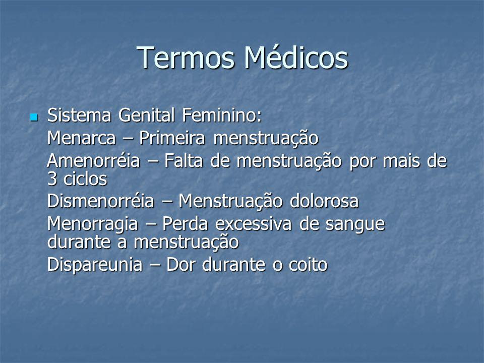 Termos Médicos Sistema Genital Feminino: Sistema Genital Feminino: Menarca – Primeira menstruação Menarca – Primeira menstruação Amenorréia – Falta de