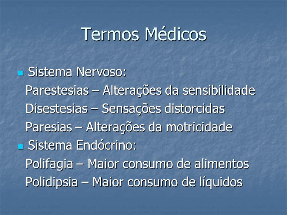Termos Médicos Sistema Nervoso: Sistema Nervoso: Parestesias – Alterações da sensibilidade Parestesias – Alterações da sensibilidade Disestesias – Sen