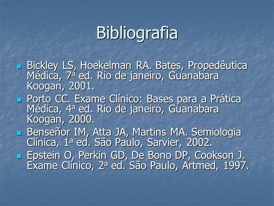 Bibliografia Bickley LS, Hoekelman RA. Bates, Propedêutica Médica, 7 a ed. Rio de janeiro, Guanabara Koogan, 2001. Bickley LS, Hoekelman RA. Bates, Pr