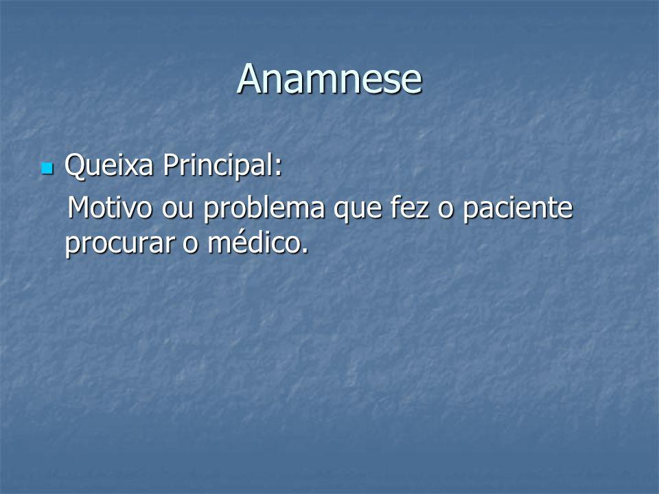 Anamnese Queixa Principal: Queixa Principal: Motivo ou problema que fez o paciente procurar o médico. Motivo ou problema que fez o paciente procurar o