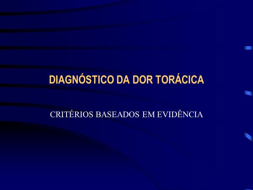DIAGNÓSTICO DA DOR TORÁCICA CRITÉRIOS BASEADOS EM EVIDÊNCIA