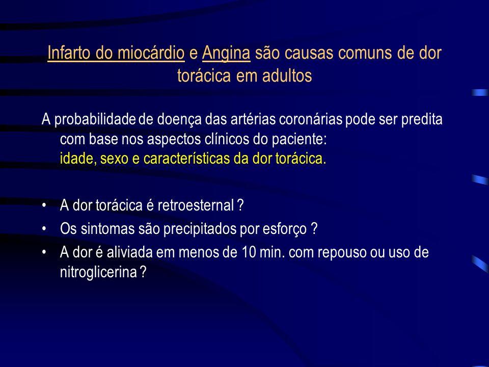 Infarto do miocárdio e Angina são causas comuns de dor torácica em adultos A probabilidade de doença das artérias coronárias pode ser predita com base