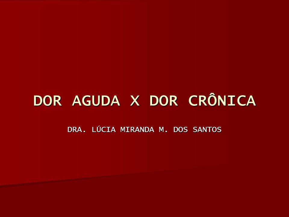 DOR AGUDA X DOR CRÔNICA DRA. LÚCIA MIRANDA M. DOS SANTOS