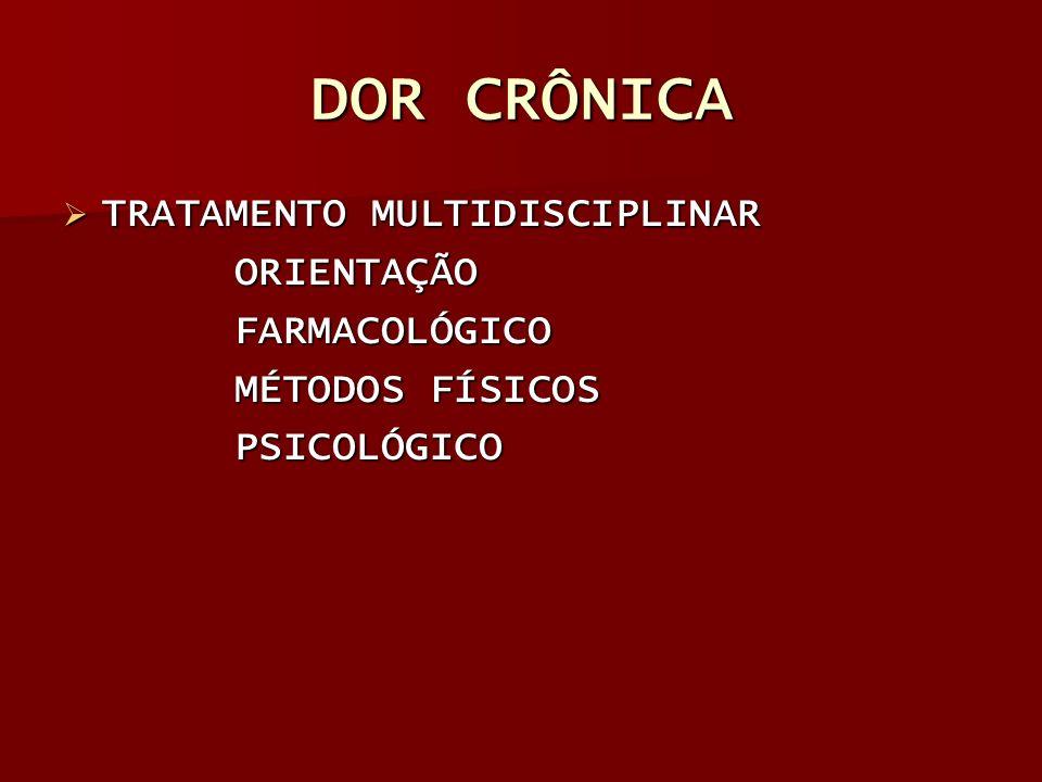 DOR CRÔNICA TRATAMENTO MULTIDISCIPLINAR TRATAMENTO MULTIDISCIPLINAR ORIENTAÇÃO ORIENTAÇÃO FARMACOLÓGICO FARMACOLÓGICO MÉTODOS FÍSICOS MÉTODOS FÍSICOS