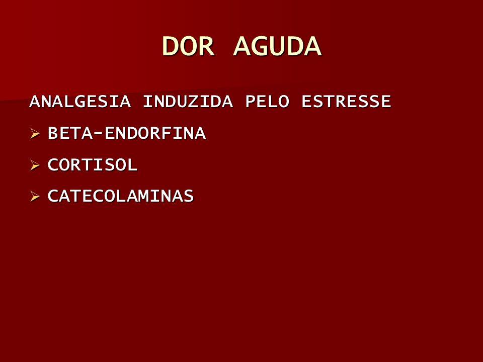 DOR AGUDA ANALGESIA INDUZIDA PELO ESTRESSE BETA-ENDORFINA BETA-ENDORFINA CORTISOL CORTISOL CATECOLAMINAS CATECOLAMINAS