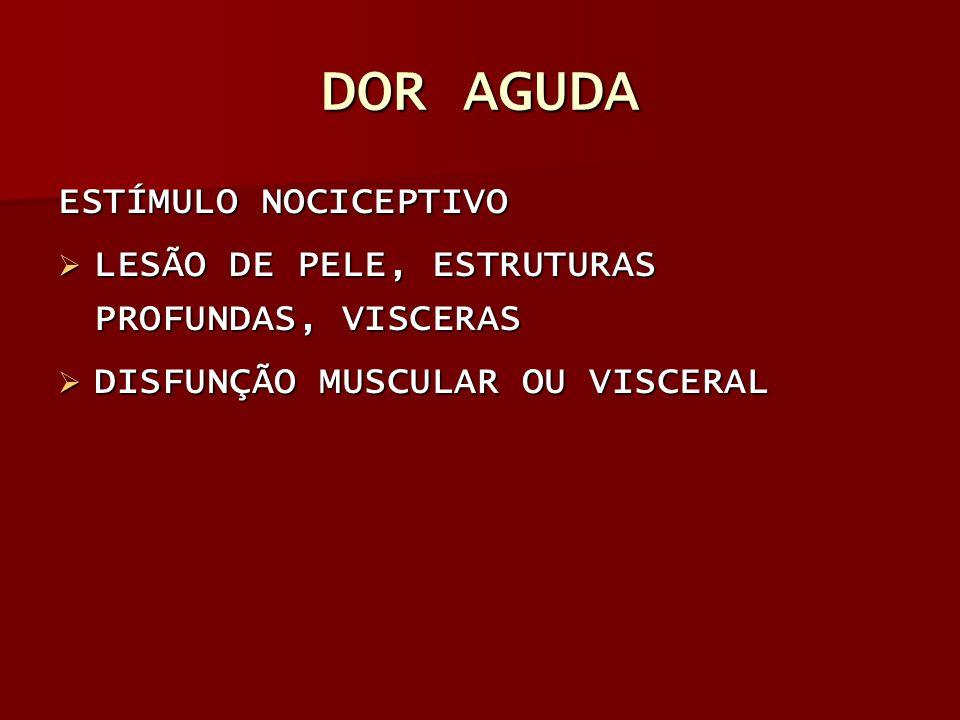 DOR AGUDA FIBRAS A-DELTA: MIELINIZADAS, CONDUÇÃO RÁPIDA, PRIMEIRA DOR MIELINIZADAS, CONDUÇÃO RÁPIDA, PRIMEIRA DOR FIBRAS C: AMIELINICAS, CONDUÇÃO LENTA, SEGUNDA DOR AMIELINICAS, CONDUÇÃO LENTA, SEGUNDA DOR