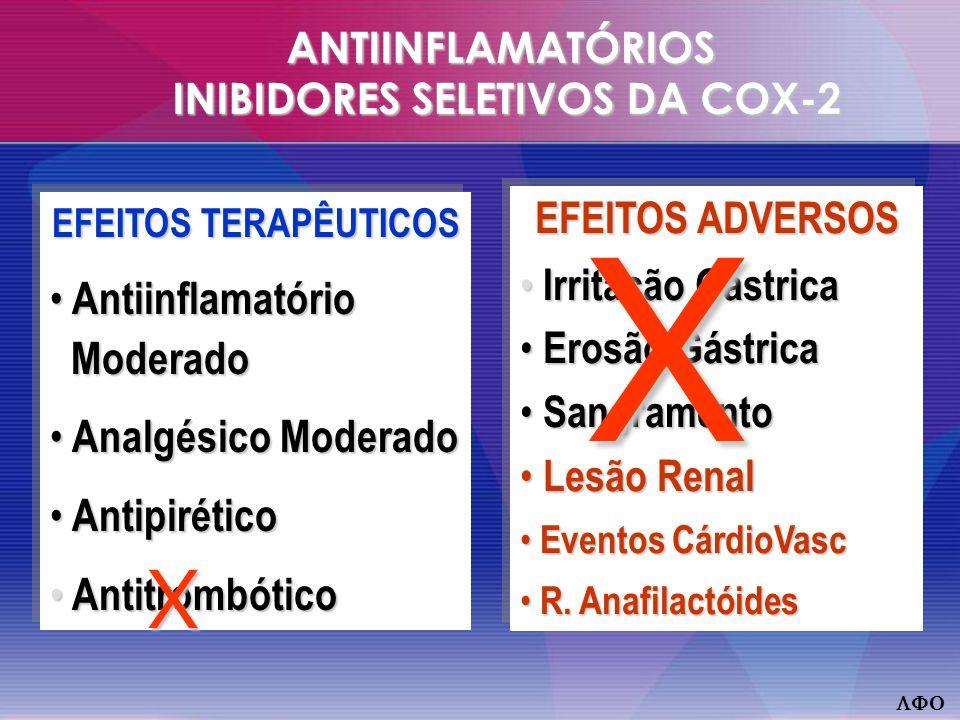 ANTIINFLAMATÓRIOS INIBIDORES SELETIVOS DA COX-2 EFEITOS TERAPÊUTICOS Antiinflamatório Moderado Antiinflamatório Moderado Analgésico Moderado Analgésico Moderado Antipirético Antipirético Antitrombótico Antitrombótico EFEITOS TERAPÊUTICOS Antiinflamatório Moderado Antiinflamatório Moderado Analgésico Moderado Analgésico Moderado Antipirético Antipirético Antitrombótico Antitrombótico EFEITOS ADVERSOS Irritação Gástrica Irritação Gástrica Erosão Gástrica Erosão Gástrica Sangramento Sangramento Lesão Renal Lesão Renal Eventos CárdioVasc Eventos CárdioVasc R.