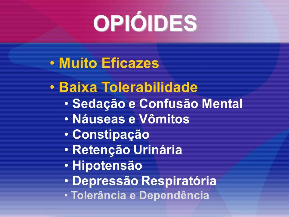 OPIÓIDES Muito Eficazes Baixa Tolerabilidade Sedação e Confusão Mental Náuseas e Vômitos Constipação Retenção Urinária Hipotensão Depressão Respiratória Tolerância e Dependência