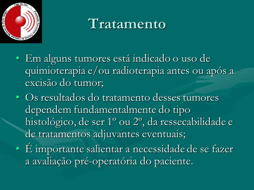Tratamento Em alguns tumores está indicado o uso de quimioterapia e/ou radioterapia antes ou após a excisão do tumor;Em alguns tumores está indicado o