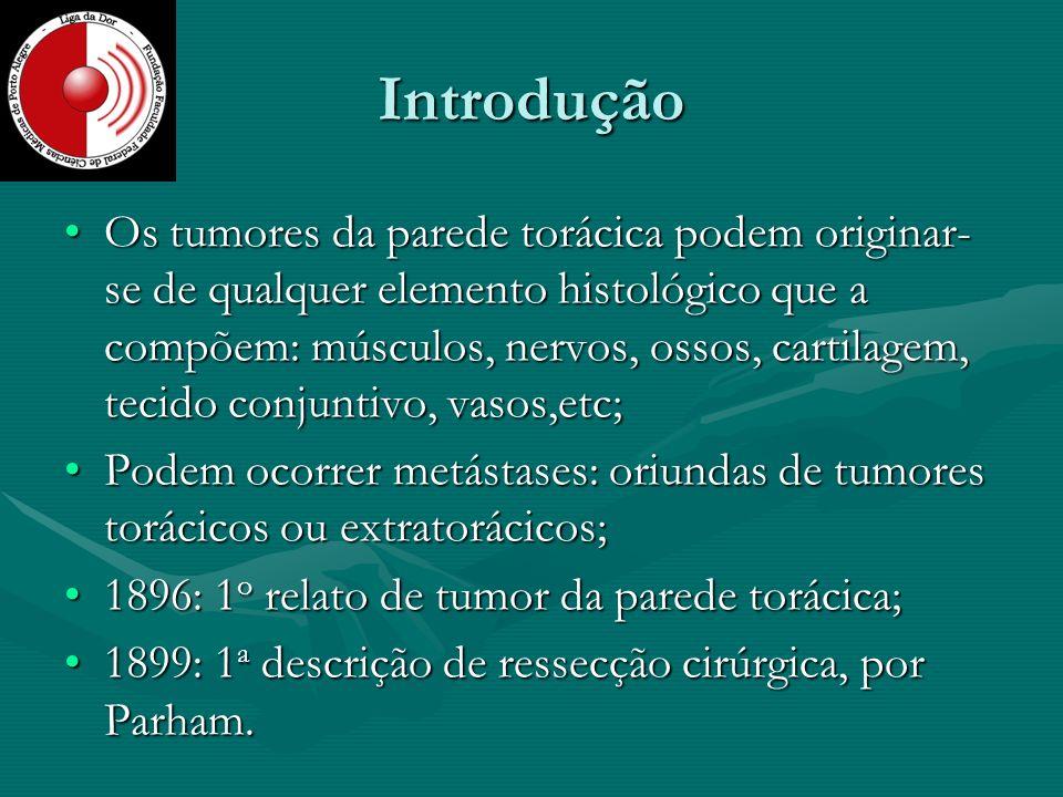 Introdução Os tumores da parede torácica podem originar- se de qualquer elemento histológico que a compõem: músculos, nervos, ossos, cartilagem, tecid
