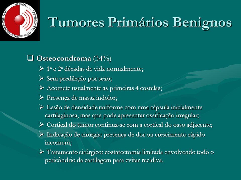 Tumores Primários Benignos Osteocondroma (34%) Osteocondroma (34%) 1 a e 2 a décadas de vida normalmente; 1 a e 2 a décadas de vida normalmente; Sem p