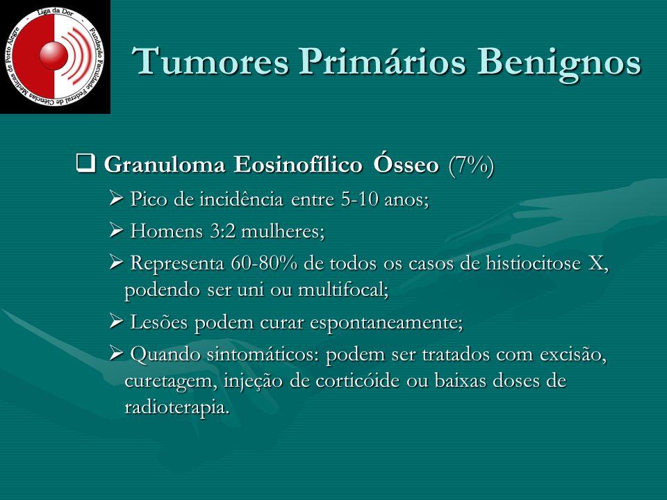 Tumores Primários Benignos Granuloma Eosinofílico Ósseo (7%) Granuloma Eosinofílico Ósseo (7%) Pico de incidência entre 5-10 anos; Pico de incidência
