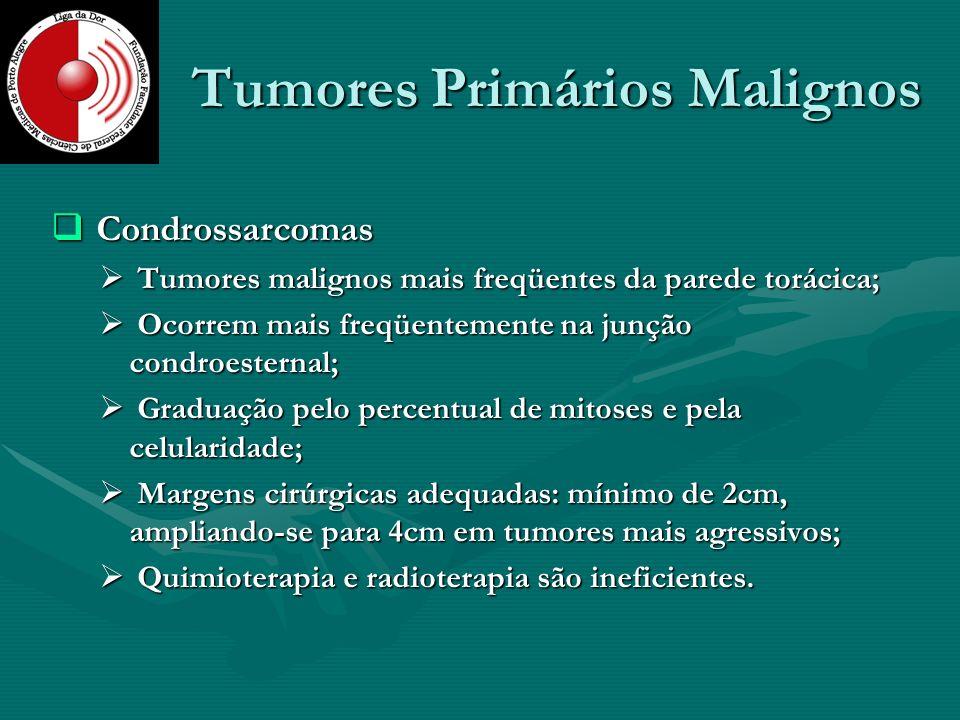 Tumores Primários Malignos Condrossarcomas Condrossarcomas Tumores malignos mais freqüentes da parede torácica; Tumores malignos mais freqüentes da pa