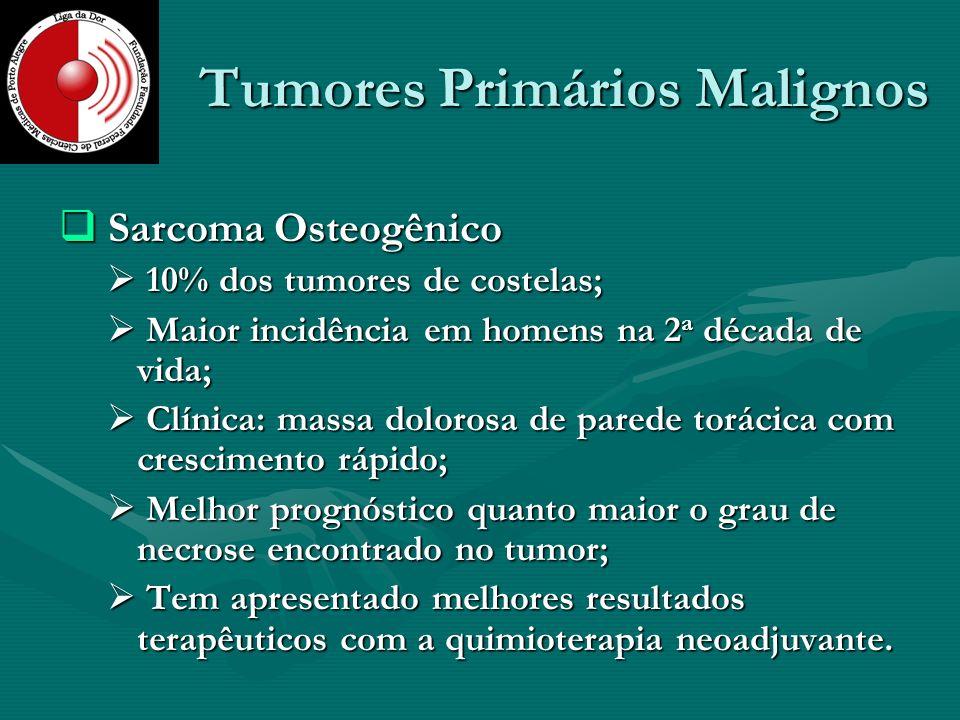 Tumores Primários Malignos Sarcoma Osteogênico Sarcoma Osteogênico 10% dos tumores de costelas; 10% dos tumores de costelas; Maior incidência em homen