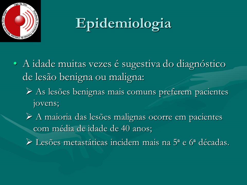 Epidemiologia A idade muitas vezes é sugestiva do diagnóstico de lesão benigna ou maligna:A idade muitas vezes é sugestiva do diagnóstico de lesão ben