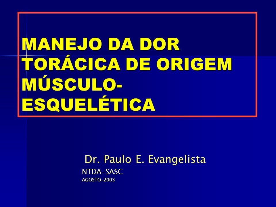 MANEJO DA DOR TORÁCICA DE ORIGEM MÚSCULO- ESQUELÉTICA Dr. Paulo E. Evangelista Dr. Paulo E. EvangelistaNTDA-SASCAGOSTO-2003