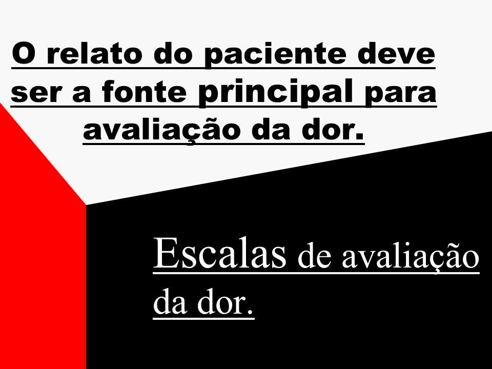 O relato do paciente deve ser a fonte principal para avaliação da dor. Escalas de avaliação da dor.