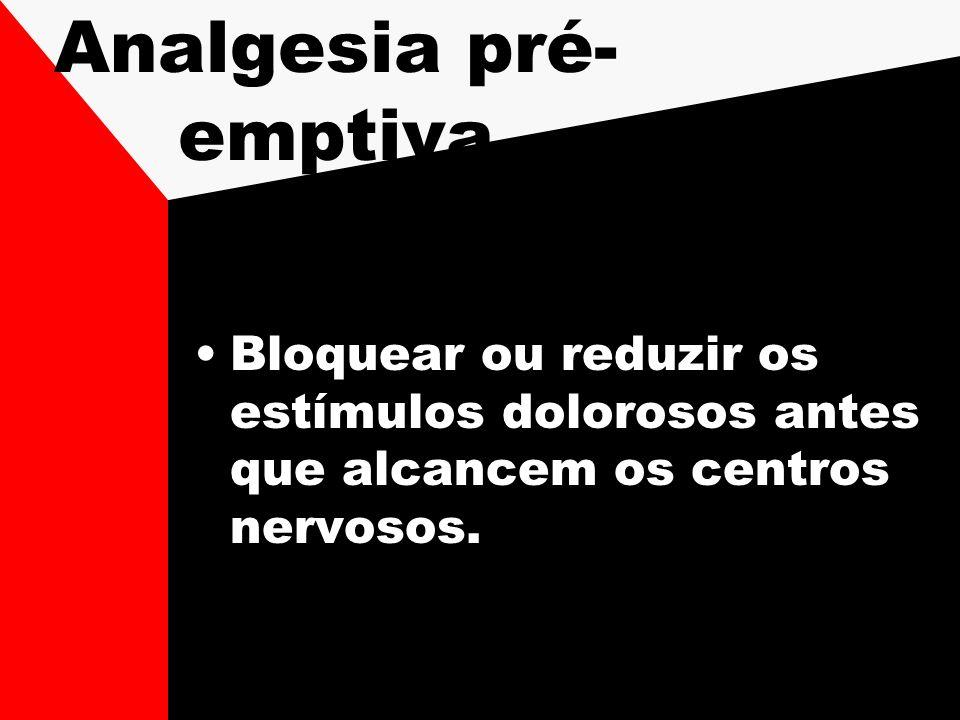 Analgesia pré- emptiva Bloquear ou reduzir os estímulos dolorosos antes que alcancem os centros nervosos.