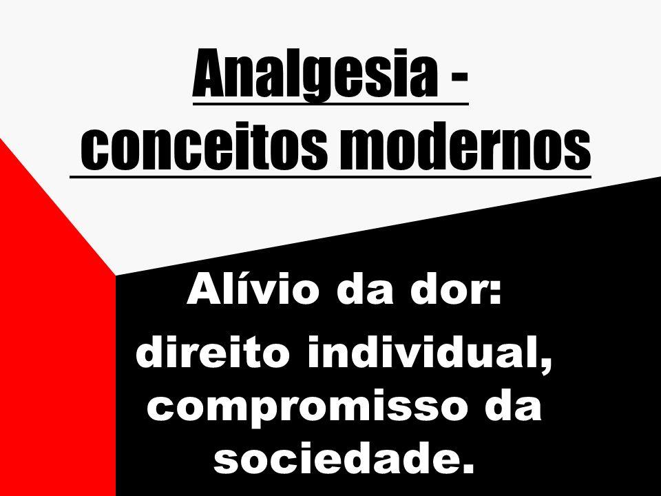 Analgesia - conceitos modernos Alívio da dor: direito individual, compromisso da sociedade.