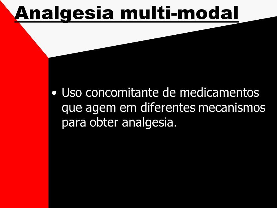 Analgesia multi-modal Uso concomitante de medicamentos que agem em diferentes mecanismos para obter analgesia.