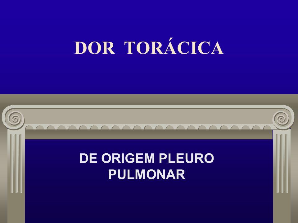 DOR TORÁCICA PLEURO- PULMONAR APRESENTAÇÃO: DR.