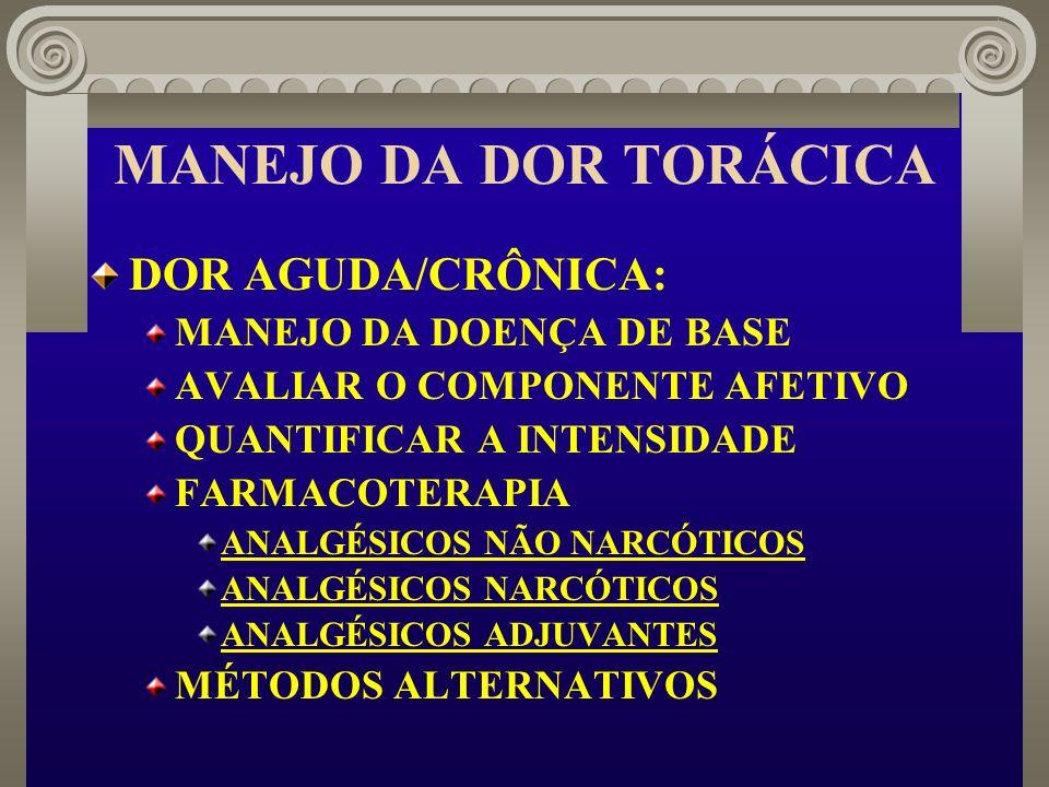 MANEJO DA DOR TORÁCICA DOR AGUDA/CRÔNICA: MANEJO DA DOENÇA DE BASE AVALIAR O COMPONENTE AFETIVO QUANTIFICAR A INTENSIDADE FARMACOTERAPIA ANALGÉSICOS N