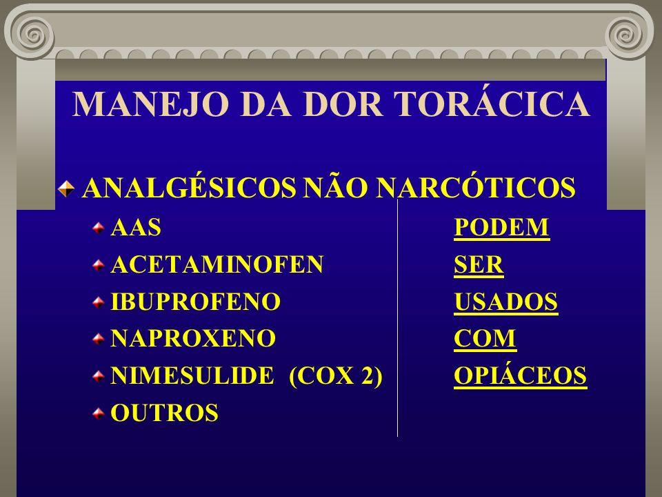 MANEJO DA DOR TORÁCICA ANALGÉSICOS NÃO NARCÓTICOS AAS PODEM ACETAMINOFENSER IBUPROFENOUSADOS NAPROXENOCOM NIMESULIDE (COX 2)OPIÁCEOS OUTROS