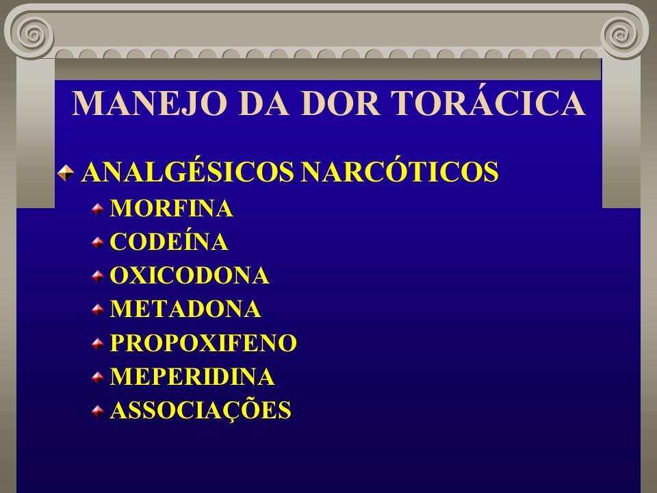 MANEJO DA DOR TORÁCICA ANALGÉSICOS NARCÓTICOS MORFINA CODEÍNA OXICODONA METADONA PROPOXIFENO MEPERIDINA ASSOCIAÇÕES