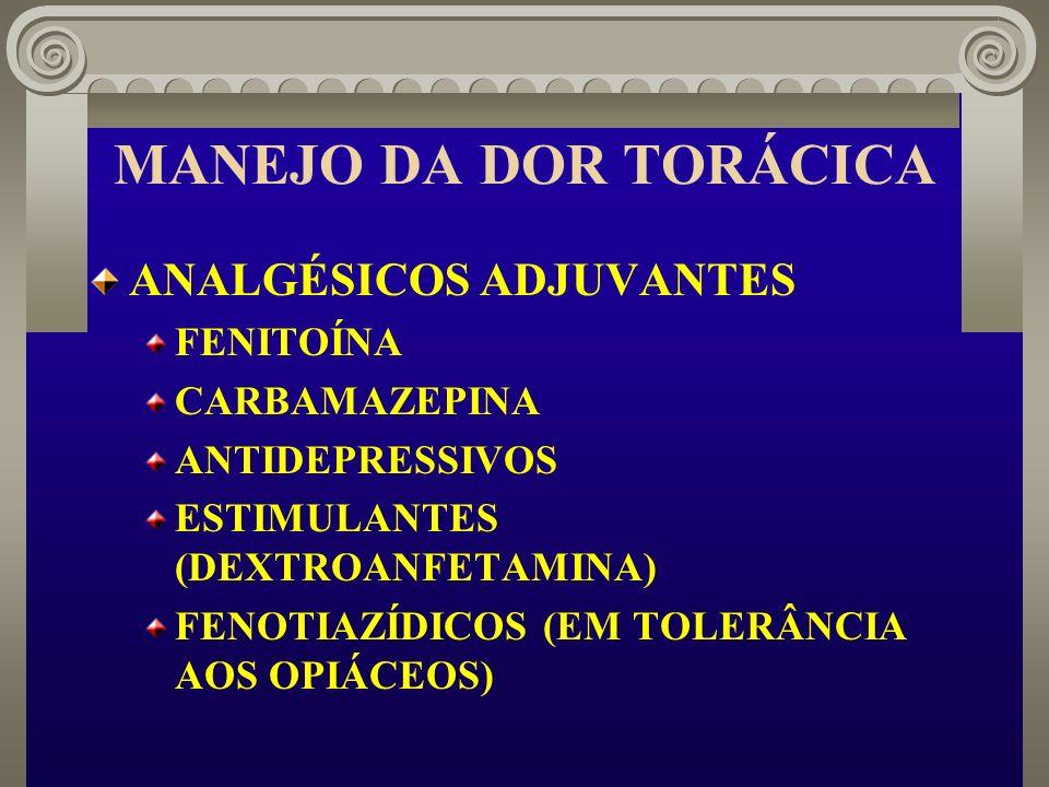 MANEJO DA DOR TORÁCICA ANALGÉSICOS ADJUVANTES FENITOÍNA CARBAMAZEPINA ANTIDEPRESSIVOS ESTIMULANTES (DEXTROANFETAMINA) FENOTIAZÍDICOS (EM TOLERÂNCIA AO
