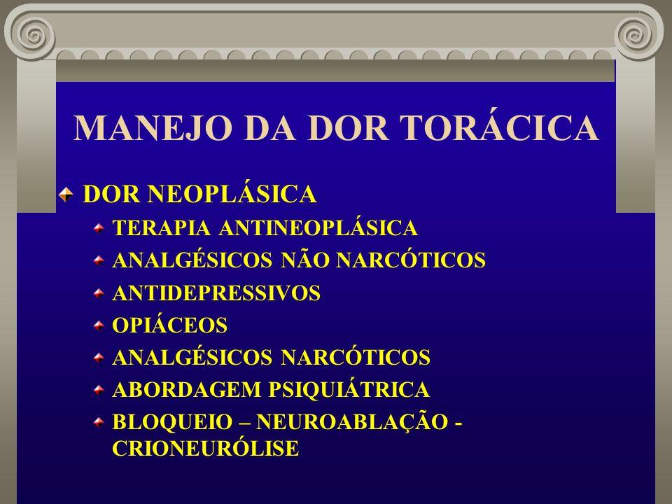 MANEJO DA DOR TORÁCICA DOR NEOPLÁSICA TERAPIA ANTINEOPLÁSICA ANALGÉSICOS NÃO NARCÓTICOS ANTIDEPRESSIVOS OPIÁCEOS ANALGÉSICOS NARCÓTICOS ABORDAGEM PSIQ