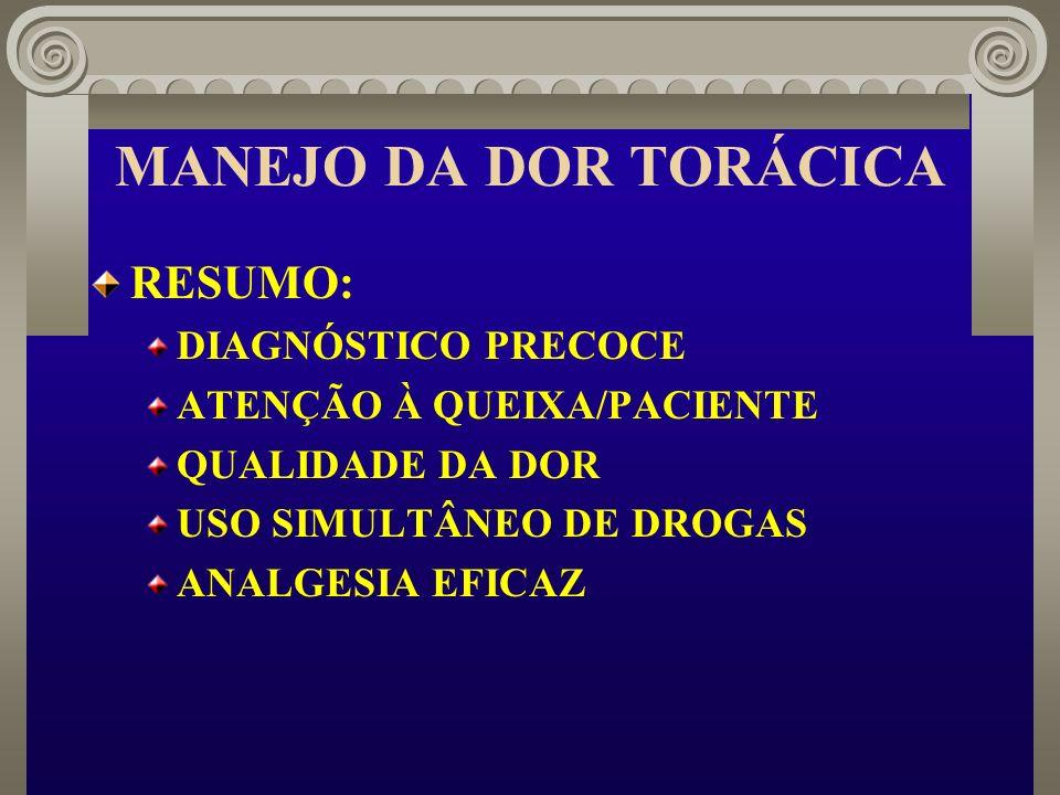 MANEJO DA DOR TORÁCICA RESUMO: DIAGNÓSTICO PRECOCE ATENÇÃO À QUEIXA/PACIENTE QUALIDADE DA DOR USO SIMULTÂNEO DE DROGAS ANALGESIA EFICAZ