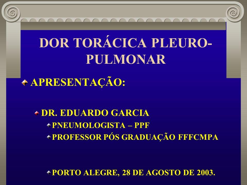 DOR TORÁCICA PLEURO- PULMONAR APRESENTAÇÃO: DR. EDUARDO GARCIA PNEUMOLOGISTA – PPF PROFESSOR PÓS GRADUAÇÃO FFFCMPA PORTO ALEGRE, 28 DE AGOSTO DE 2003.