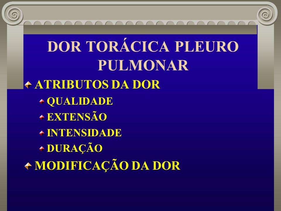 DOR TORÁCICA PLEURO PULMONAR ATRIBUTOS DA DOR QUALIDADE EXTENSÃO INTENSIDADE DURAÇÃO MODIFICAÇÃO DA DOR