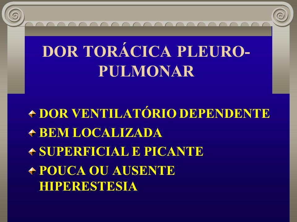 DOR TORÁCICA PLEURO- PULMONAR DOR VENTILATÓRIO DEPENDENTE BEM LOCALIZADA SUPERFICIAL E PICANTE POUCA OU AUSENTE HIPERESTESIA