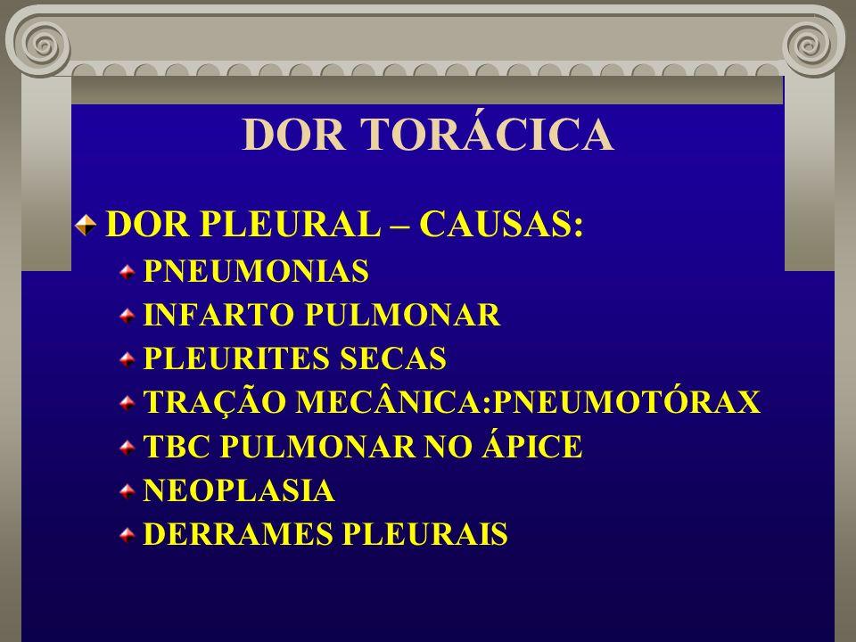 DOR TORÁCICA DOR PLEURAL – CAUSAS: PNEUMONIAS INFARTO PULMONAR PLEURITES SECAS TRAÇÃO MECÂNICA:PNEUMOTÓRAX TBC PULMONAR NO ÁPICE NEOPLASIA DERRAMES PL