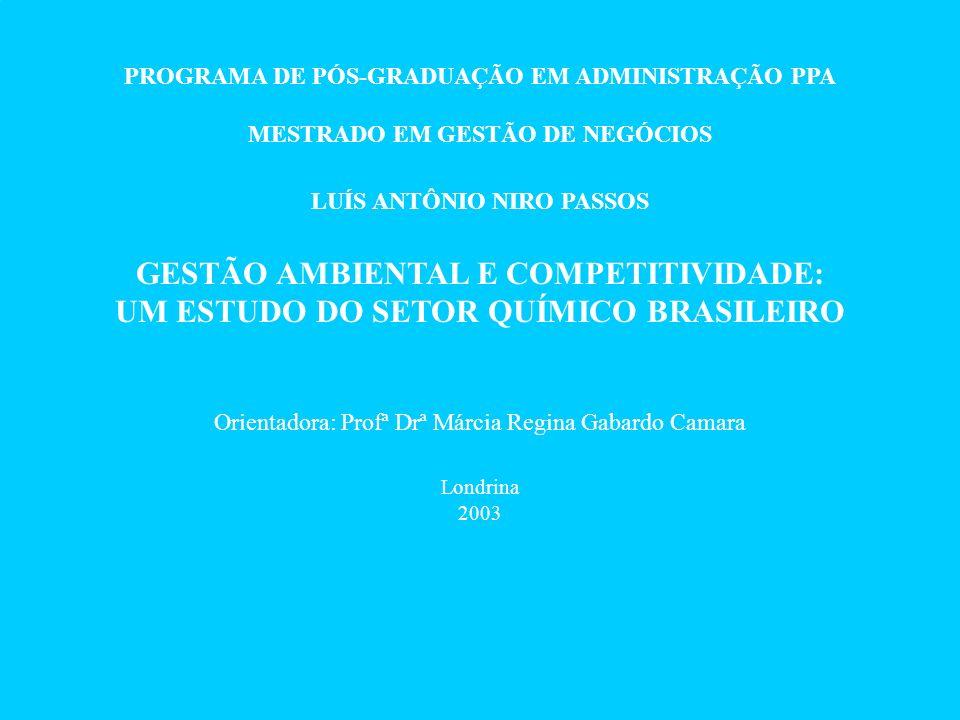 PROGRAMA DE PÓS-GRADUAÇÃO EM ADMINISTRAÇÃO PPA MESTRADO EM GESTÃO DE NEGÓCIOS LUÍS ANTÔNIO NIRO PASSOS GESTÃO AMBIENTAL E COMPETITIVIDADE: UM ESTUDO DO SETOR QUÍMICO BRASILEIRO Orientadora: Profª Drª Márcia Regina Gabardo Camara Londrina 2003