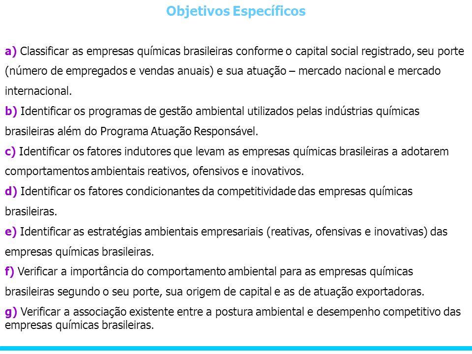 Objetivos Específicos a) Classificar as empresas químicas brasileiras conforme o capital social registrado, seu porte (número de empregados e vendas anuais) e sua atuação – mercado nacional e mercado internacional.