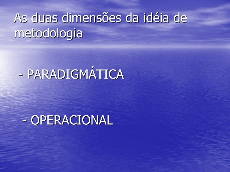 As duas dimensões da idéia de metodologia - PARADIGMÁTICA - PARADIGMÁTICA - OPERACIONAL - OPERACIONAL