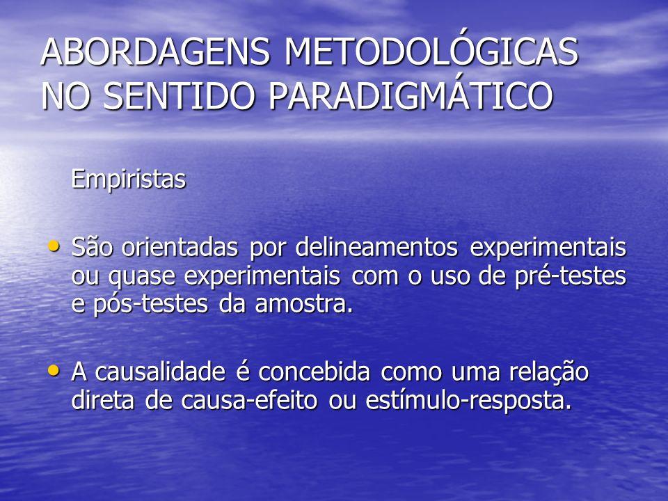 ABORDAGENS METODOLÓGICAS NO SENTIDO PARADIGMÁTICO Empiristas Empiristas São orientadas por delineamentos experimentais ou quase experimentais com o uso de pré-testes e pós-testes da amostra.
