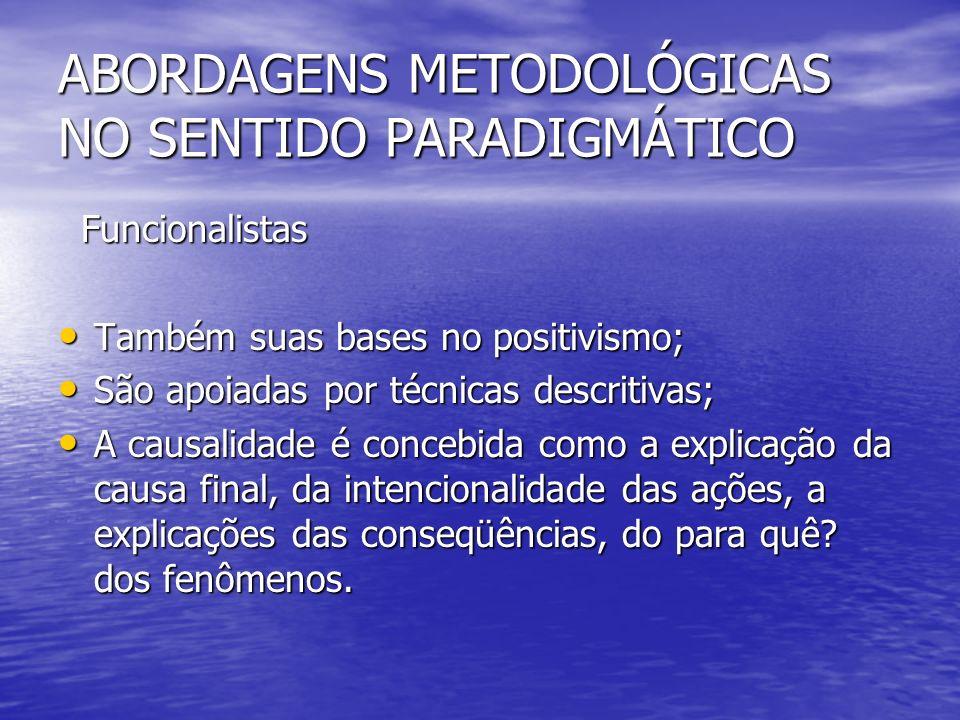 Funcionalistas Funcionalistas Também suas bases no positivismo; Também suas bases no positivismo; São apoiadas por técnicas descritivas; São apoiadas