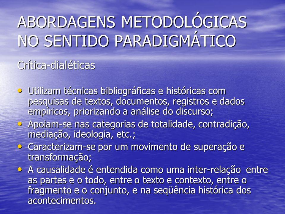 Crítica-dialéticas Utilizam técnicas bibliográficas e históricas com pesquisas de textos, documentos, registros e dados empíricos, priorizando a análi
